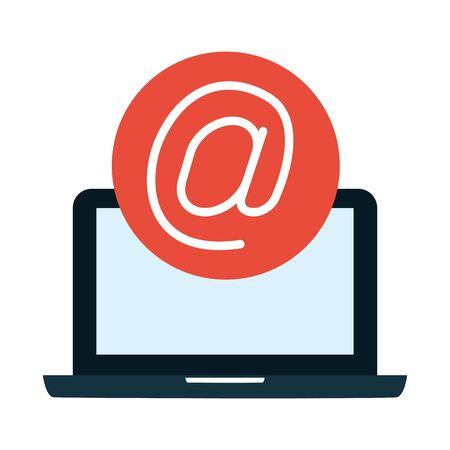 laptop computer send email symbol vector illustration  イラスト・ベクター素材