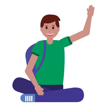 happy young man sitting on white background vector illustration Çizim