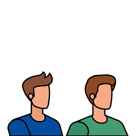young and casual men characters vector illustration design 일러스트