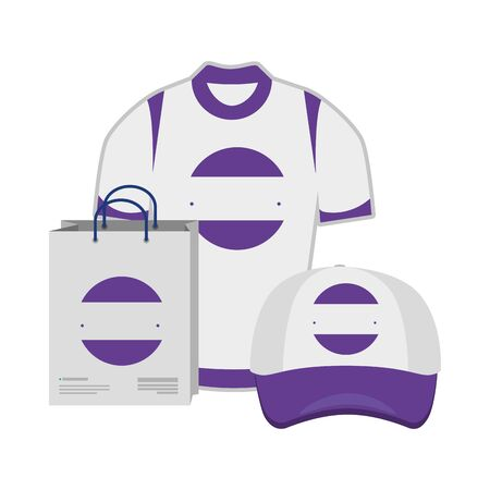 shopping bag and cap ,shirt with company emblem vector illustration design