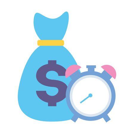 money bag economy with alarm clock vector illustration design Ilustração