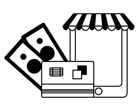 online ecommerce money smartphone bank card vector illustration  イラスト・ベクター素材