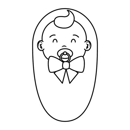 cute little baby boy with pacifier character vector illustration design Illustration