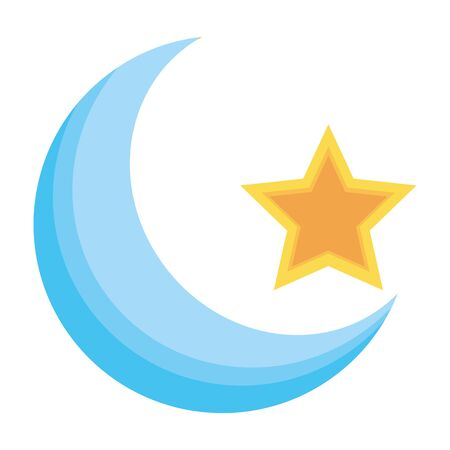 half moon and star on white background 向量圖像