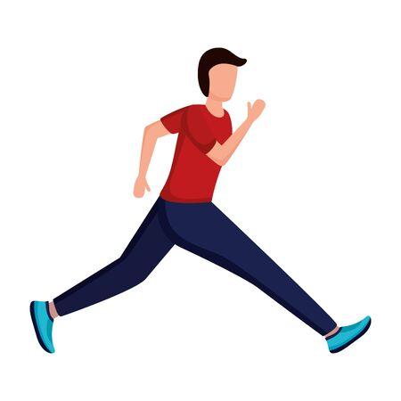 man in sport clothes running activity vector illustration