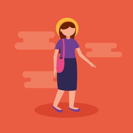woman walking outdoor travel exploration vector illustration Ilustrace