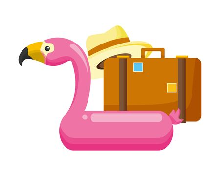 summer time holiday suitcase hat flamingo float vector illustration Ilustrace