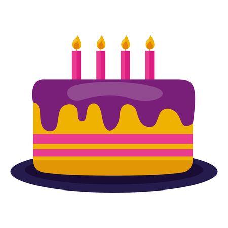 birthday cake candles dessert food vector illustration