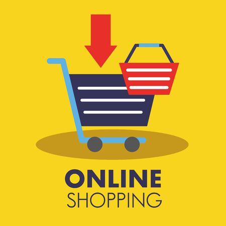 Shopping online design di icone, tecnologia Internet del mercato dei media e-commerce e tema della vendita al dettaglio Illustrazione vettoriale Vettoriali