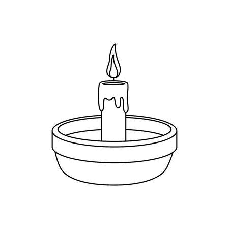 Plat avec bougie religieuse fire vector illustration design