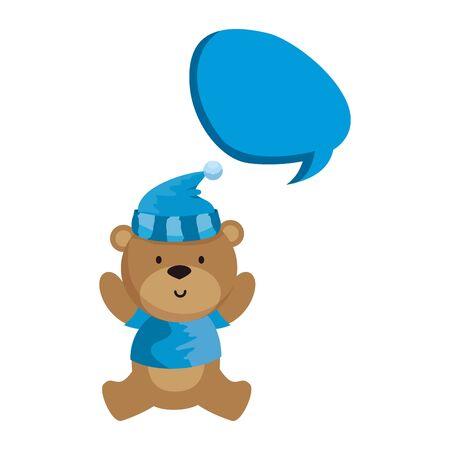 little bear teddy with hat and speech bubble vector illustration design Illustration