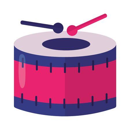 drum and sticks on white background vector illustration Иллюстрация