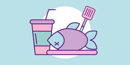 Fish design, Food restaurant menu dinner lunch cooking meal and tasty theme Vector illustration  イラスト・ベクター素材