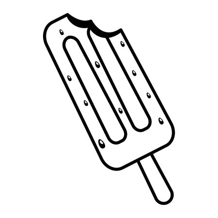 bite   ice cream on white background vector illustration