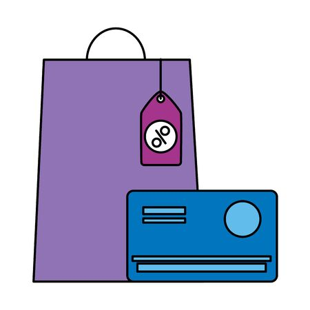 online shopping ecommerce bags bank card tag prices vector illustration Stock fotó - 129748549