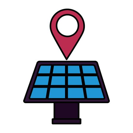navigation pointer solar panel energy vector illustration