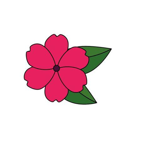 Hermosa flor con hojas de jardín icono decorativo diseño ilustración vectorial