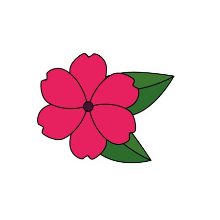 beautiful flower with leafs garden decorative icon vector illustration design Illustration