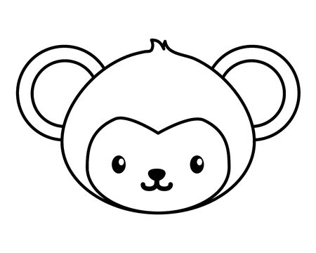cute little monkey head baby character vector illustration design Illustration
