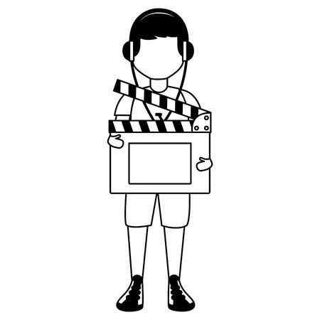 man with headphones and clapboard vector illustration Illustration