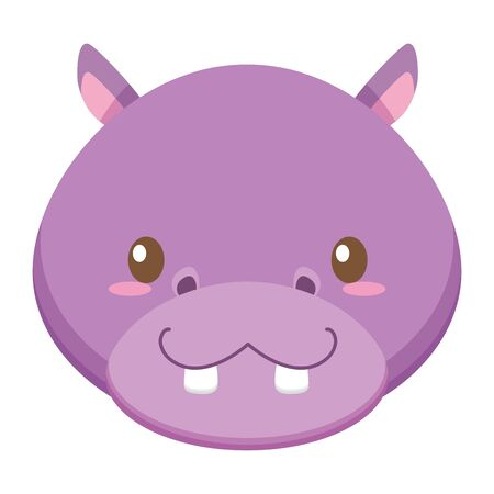 cute little hippo baby head character vector illustration design