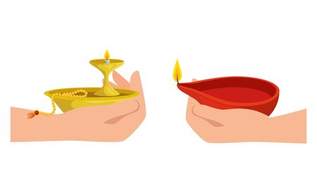 hands with ramadan kareem candle decorative vector illustration design