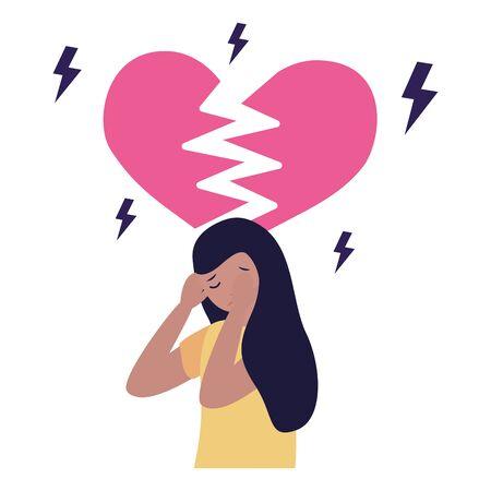 heart break woman with mental psychological depressed vector illustration Illustration