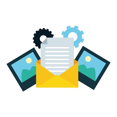 mail photo send email settings vector illustration