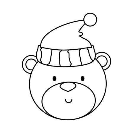 little bear teddy with hat vector illustration design