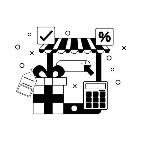 online shopping cellphone gift calculator commerce vector illustration Illusztráció