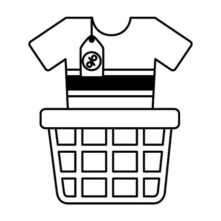 online shopping ecommerce basket and clothes vector illustration