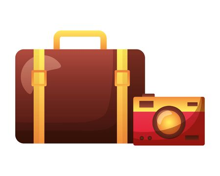 summer time holiday suitcase camera  vector illustration Stock Illustratie