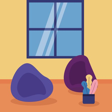 room space bean chairs window plant vector illustration