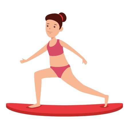 happy athletic girl practicing surf sport vector illustration design