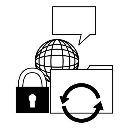 world padlock reload cyber security data vector illustration