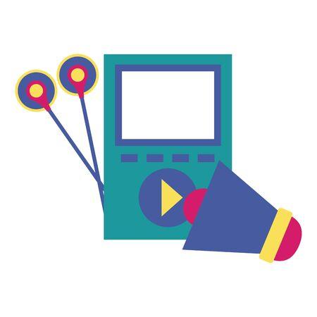 mp3 megaphone music colorful background vector illustration Illustration