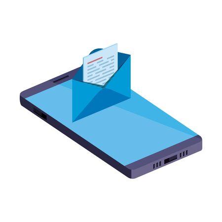 smartphone device with envelope email vector illustration design