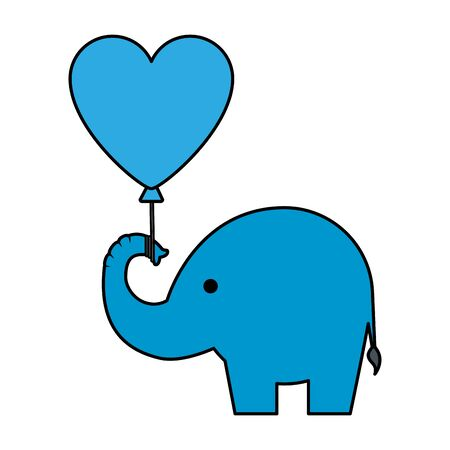 cute little elephant silhouette with heart balloon vector illustration design