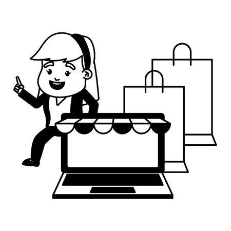 businesswoman online payment laptop shopping bags vector illustration Stock Illustratie