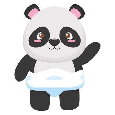 cute little bear panda baby character vector illustration design Illusztráció