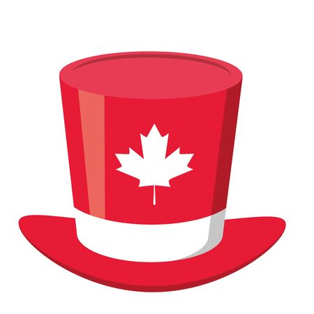 top hat maple leaf happy canada day vector illustration