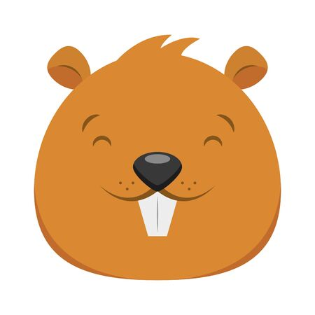 beaver face animal cartoon character vector illustration