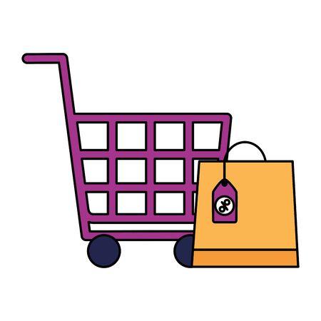 online shopping cart bag sale ecommerce vector illustration