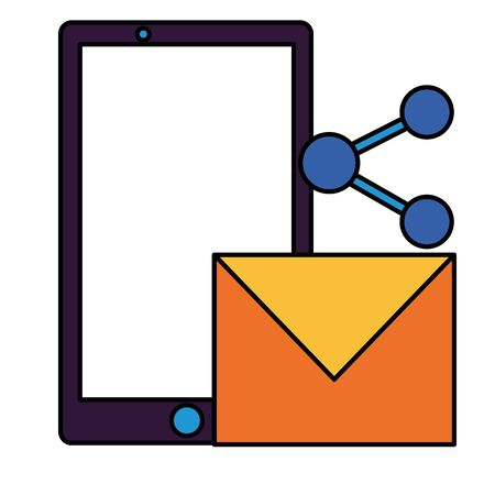 smartphone email share on white background vector illustration Ilustração