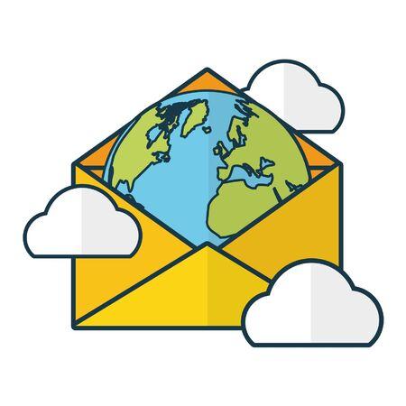 world message cloud computing send email vector illustration Illustration