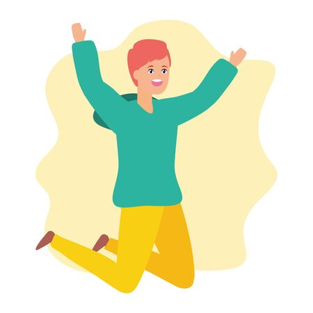 happy man celebrating arms up vector illustration Stok Fotoğraf - 129531070