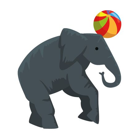 circus elephant playing with balloon vector illustration design