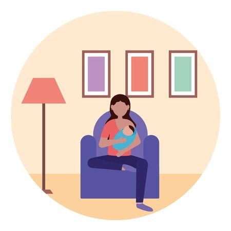 mom feeding newborn pregnancy and maternity vector illustration Archivio Fotografico - 129531174
