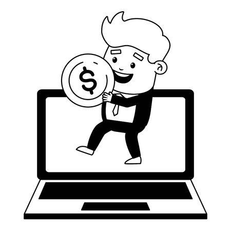 businessman laptop money online payment vector illustration
