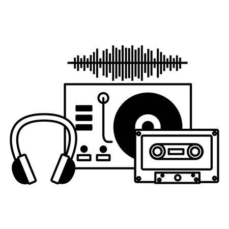 turntable vinyl cassette headphone instrument and equipment festival music vector illustration Stock Illustratie